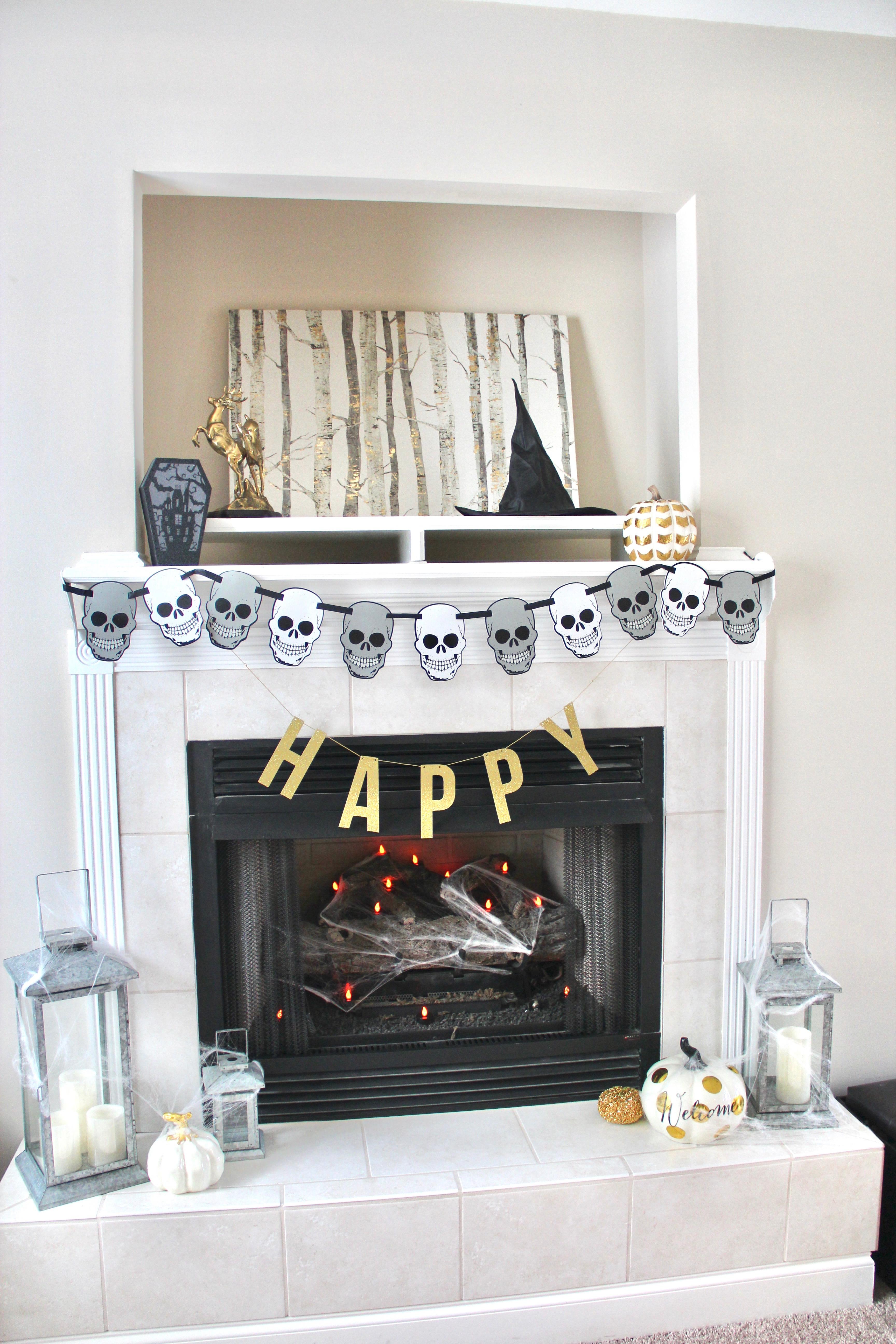 simple halloween mantel blonde boss babe. Black Bedroom Furniture Sets. Home Design Ideas