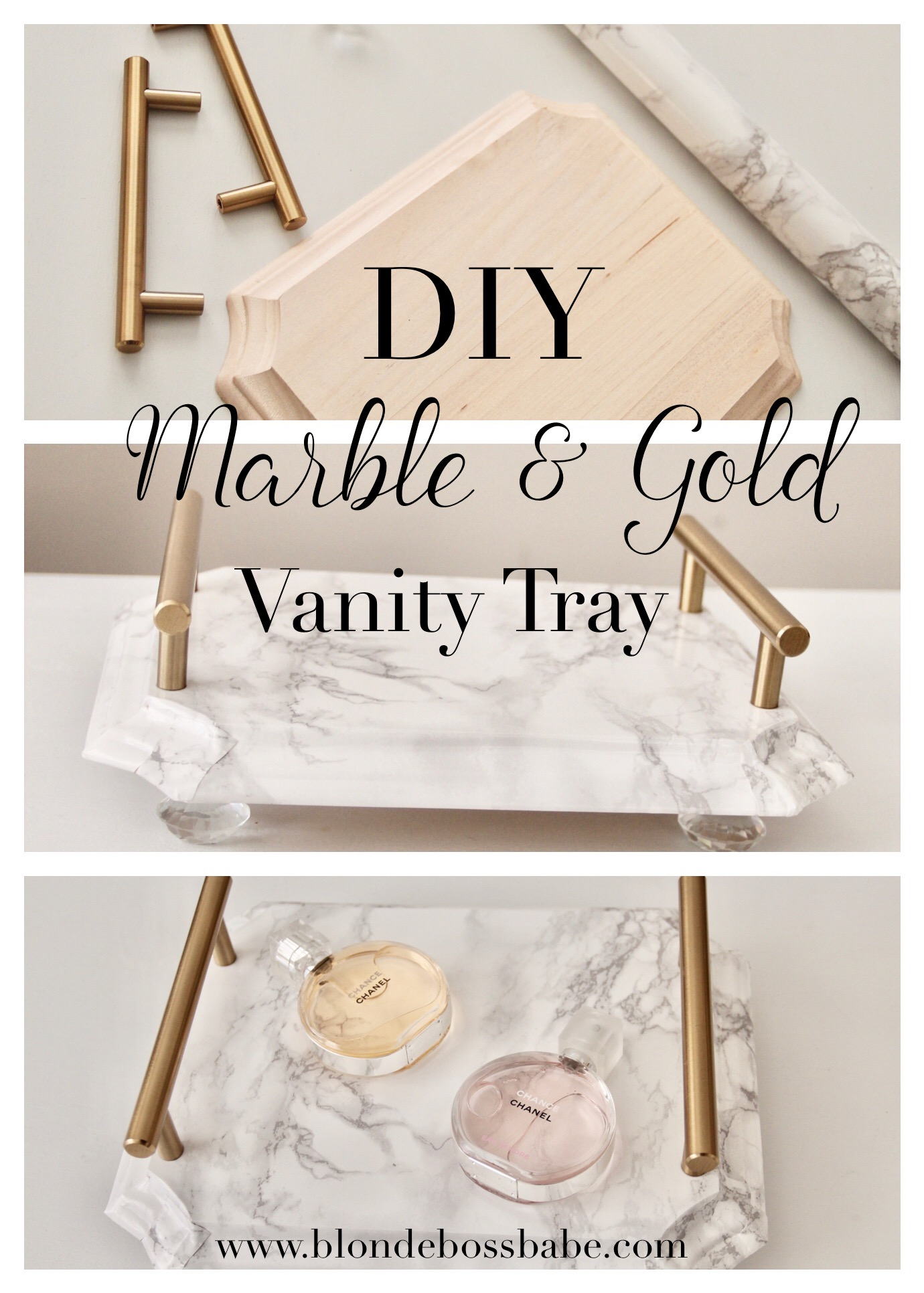 marble and gold vanity tray
