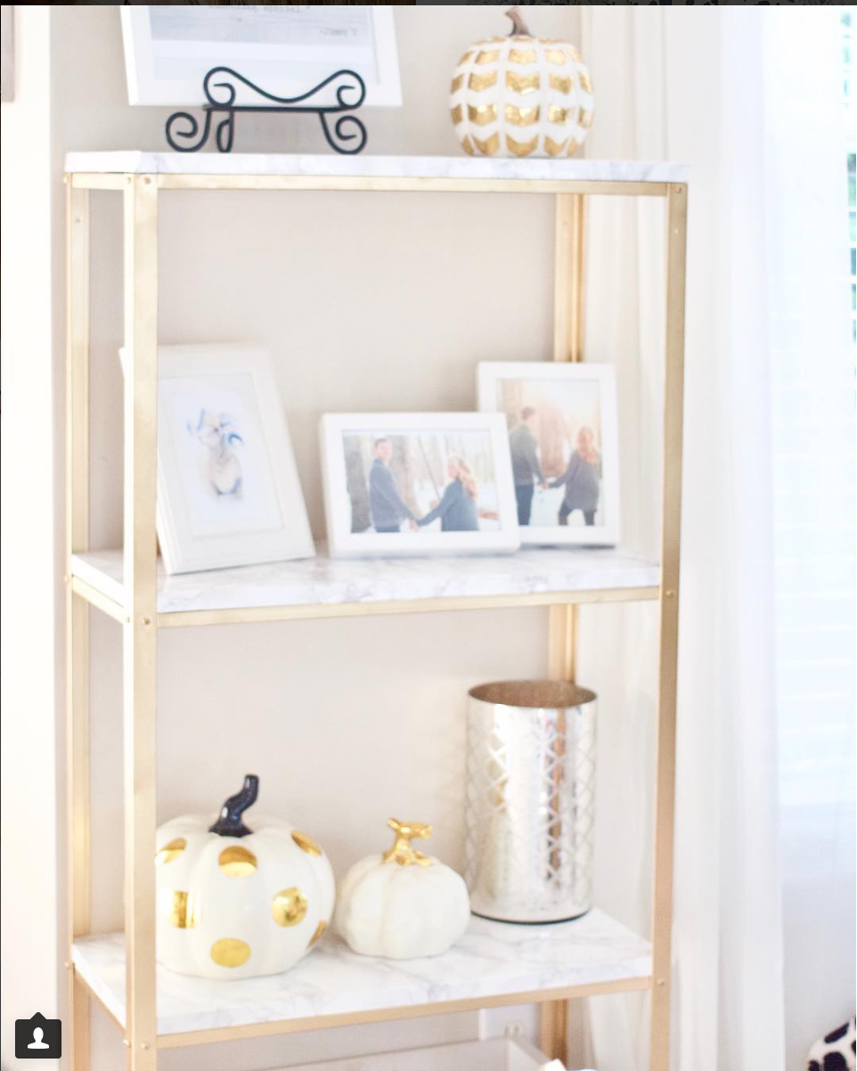 marble and gold shelf diy