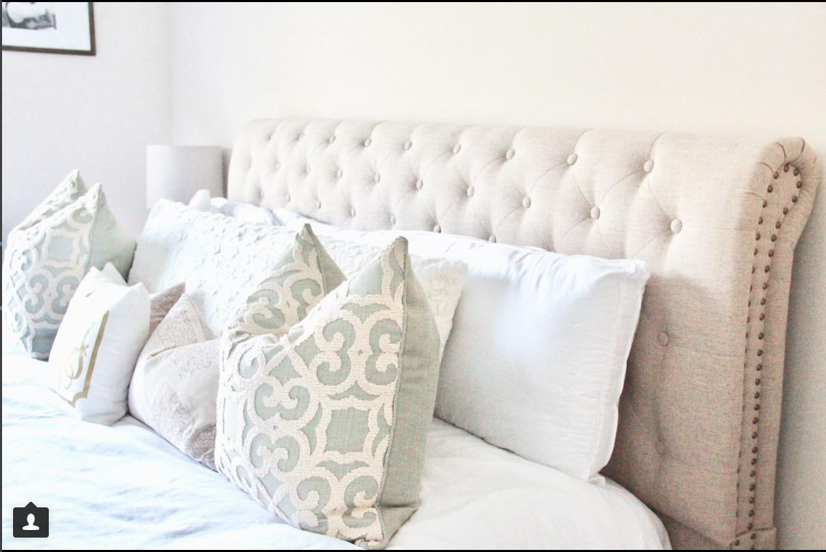 tufted headboard neutral bedroom
