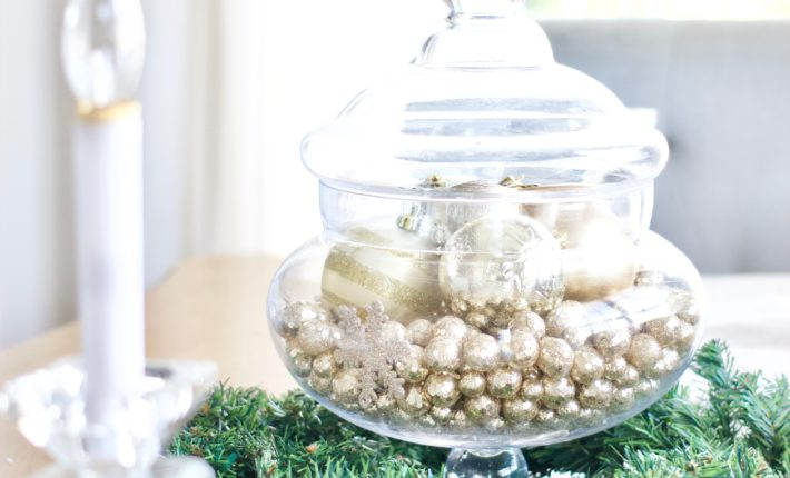 easy glam winter centerpiece