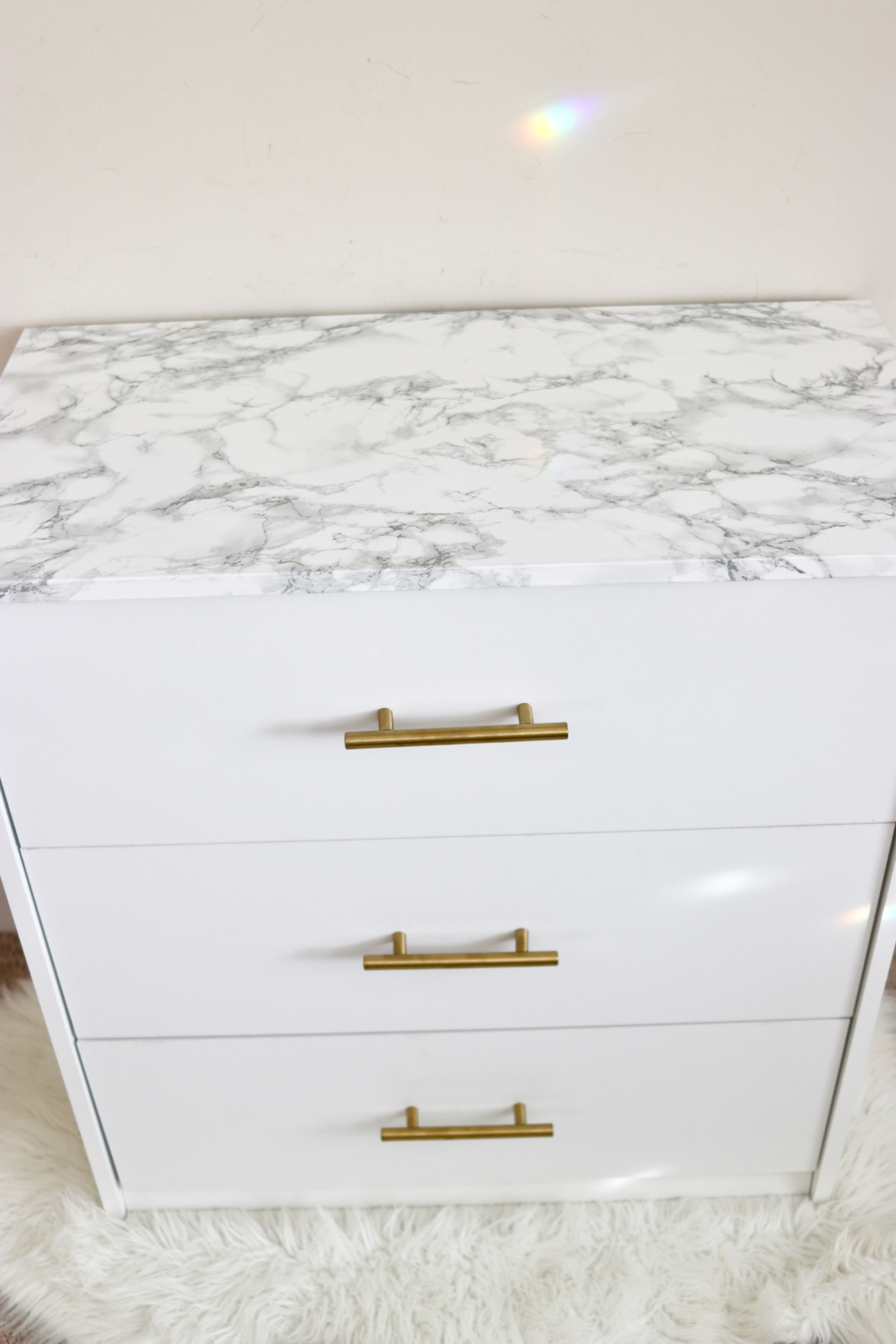 glam marble and gold drawer diy hack