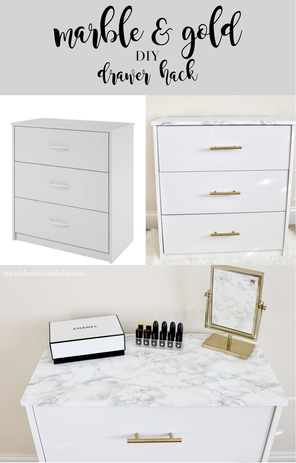 marble and gold drawer hack diy