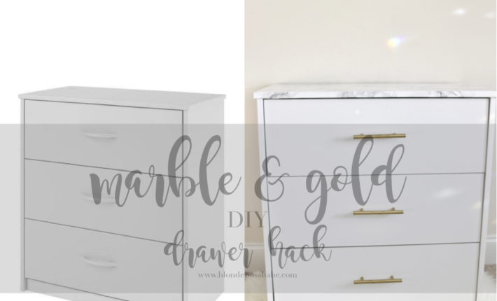 the 15 minute marble and gold white drawer hack diy