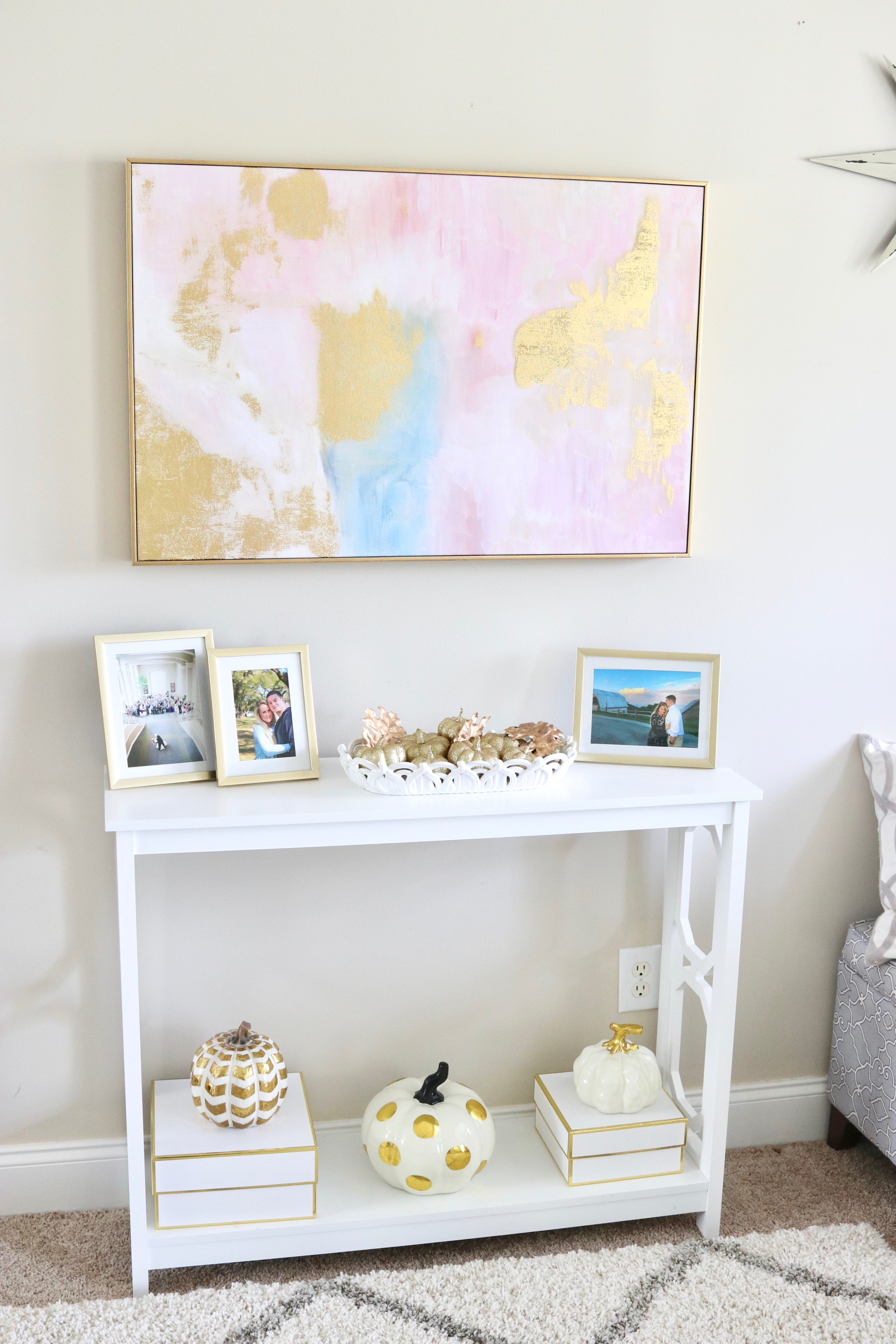 gold and white fall console table
